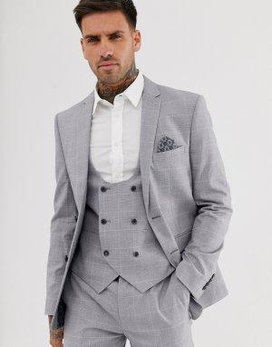Светло-серый облегающий эластичный пиджак в клетку Harry Brown