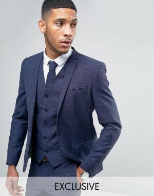 Свадебный пиджак скинни из ткани с добавлением льна в крапинку -Темно-синий Noak