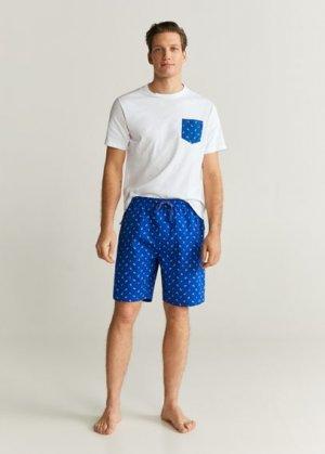 Комплект пижама из хлопка - Pyjamanc Mango. Цвет: темно-синий