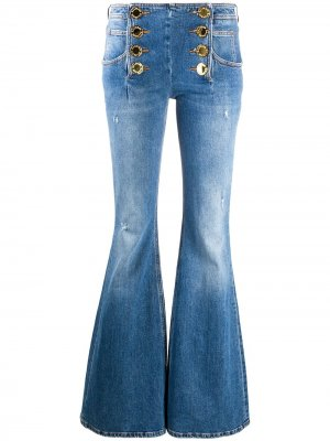 Расклешенные джинсы с эффектом потертости Balmain. Цвет: синий