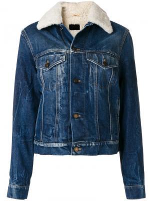 Джинсовая куртка с отделкой из овечьего меха Saint Laurent. Цвет: синий