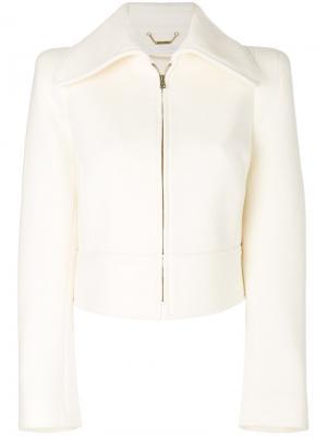 Укороченный пиджак с большим воротником Chloé. Цвет: телесный