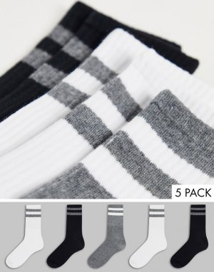 Набор из 5 пар спортивных носков с полосками -Черный цвет Brave Soul