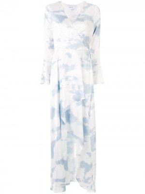 Платье миди асимметричного кроя с принтом тай-дай Designers Remix. Цвет: синий