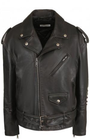 Кожаная куртка с поясом и косой молнией Balenciaga. Цвет: черный