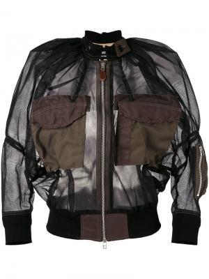 Прозрачная куртка-бомбер Junya Watanabe Comme Des Garçons. Цвет: чёрный