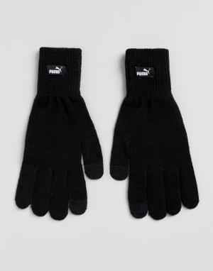 Черные трикотажные перчатки 04131604 Puma. Цвет: черный