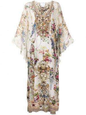 Платье с цветочным принтом и V-образным вырезом Camilla. Цвет: белый