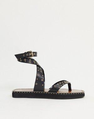Черные кожаные сандалии с заклепками -Черный Topshop