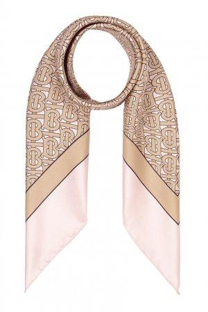 Розовый платок из шелка Burberry. Цвет: розовый