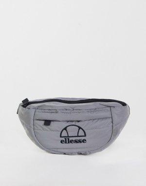 Светоотражающая стеганая сумка-кошелек на пояс серебристого цвета -Серебряный ellesse