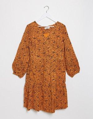 Чайное платье с цветочным принтом -Многоцветный Blend She