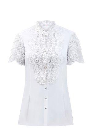 Блуза из хлопкового поплина с ажурным декором ERMANNO SCERVINO. Цвет: белый