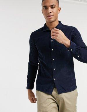 Темно-синяя вельветовая рубашка из органического хлопка -Темно-синий Knowledge Cotton Apparel