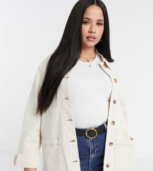 Джинсовая куртка кремового цвета -Белый Vero Moda Curve