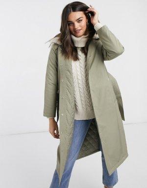 Удлиненная куртка-парка с отделкой из искусственного меха и поясом -Зеленый Fashion Union