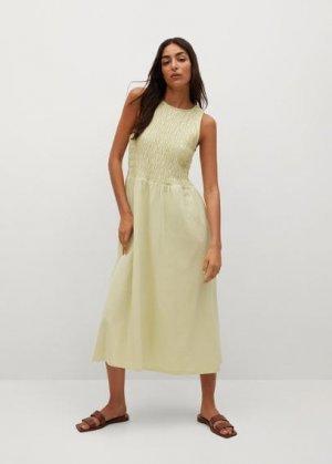 Миди-платье со сборками - Sandi Mango. Цвет: лайм