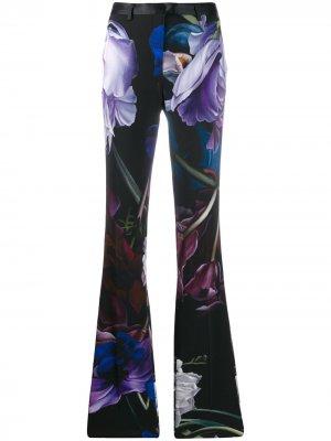 Расклешенные брюки строгого кроя с принтом Marchito Roberto Cavalli. Цвет: черный