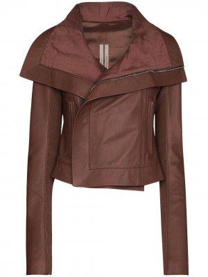 Байкерская куртка с широким воротником Rick Owens. Цвет: коричневый