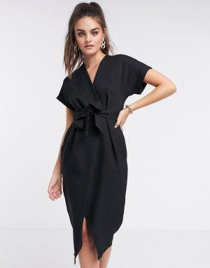 Черное платье миди с запахом и завязкой -Черный цвет Closet London