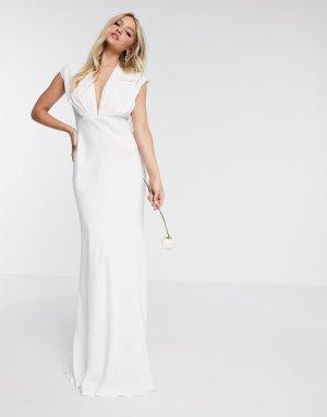 Атласное свадебное платье с глубоким вырезом -Белый ASOS EDITION