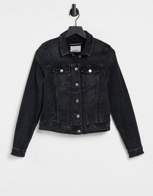Черная джинсовая куртка -Черный цвет Only