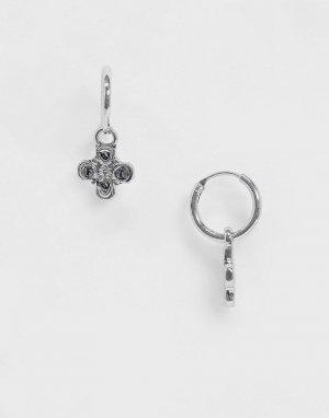 Серебристые серьги-кольца с подвесками -Серебряный WFTW