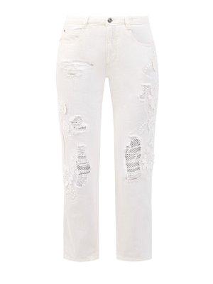 Укороченные джинсы с кружевной вышивкой ручной работы ERMANNO SCERVINO. Цвет: белый