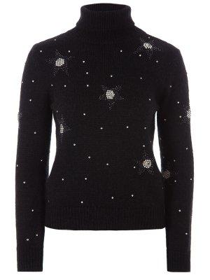 Шерстяной свитер со стразами YSL