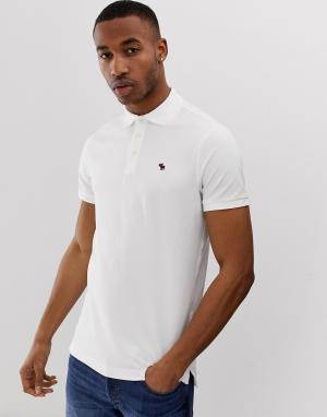 Белое поло из пике с логотипом Abercrombie & Fitch