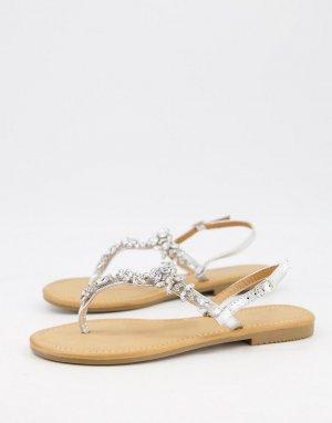 Серебристые сандалии с отделкой и перемычкой между пальцами -Серебристый Glamorous