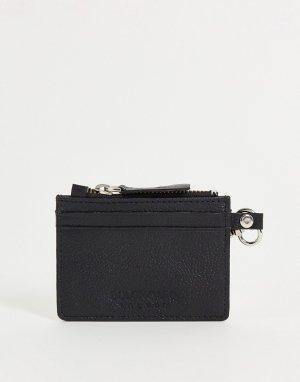 Бумажник из зернистой кожи с отделением для монет на молнии -Черный цвет Bolongaro Trevor