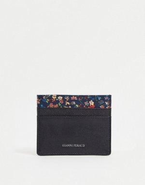 Кредитница из кожи с отделкой принтом в стиле либерти -Черный цвет Gianni Feraud