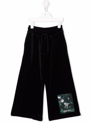 Широкие брюки с нашивкой-логотипом Kenzo Kids. Цвет: черный