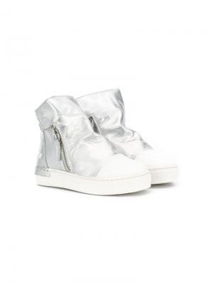 Высокие кроссовки на молнии Cinzia Araia Kids. Цвет: серебристый