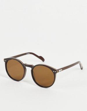 Коричневые круглые солнцезащитные очки в стиле унисекс с коричневыми стеклами Cut Eighteen-Коричневый цвет Spitfire