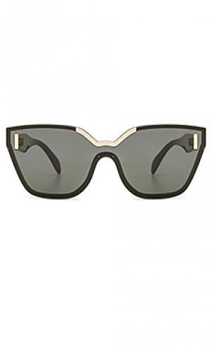 Солнцезащитные очки prada plaque. Цвет: черный