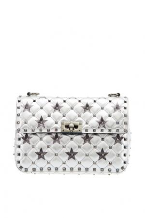 Серебристая сумка со звездами Rockstud Spike.It Garavani Valentino. Цвет: серебряный