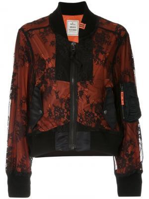 Куртка-бомбер с кружевной вставкой Maison Mihara Yasuhiro