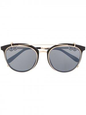Декорированные солнцезащитные очки Chopard Eyewear. Цвет: черный