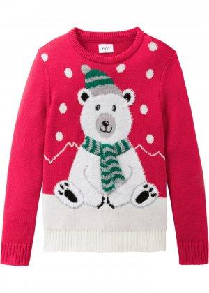 Пуловер вязаный для девочки bonprix. Цвет: красный