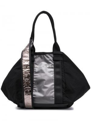 Спортивная сумка-хобо Diesel. Цвет: черный