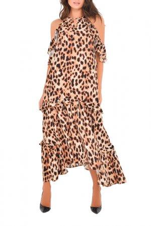 Платье MONDIGO. Цвет: леопард, коричневый