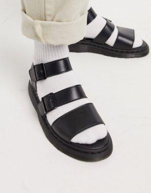 Черные сандалии из искусственной кожи -Черный Dr Martens