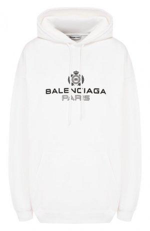 Хлопковое худи Balenciaga. Цвет: белый