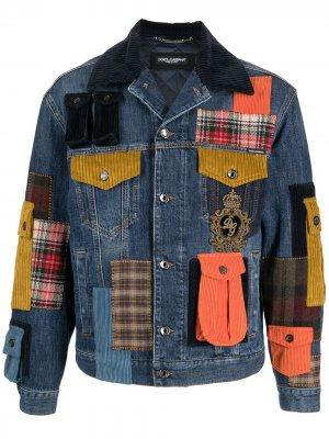 Джинсовая куртка в технике пэчворк Dolce & Gabbana. Цвет: синий