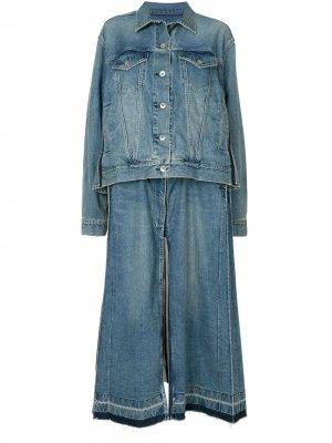 Длинная джинсовая куртка Sacai. Цвет: синий