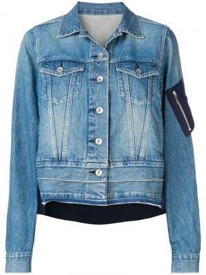 Джинсовая куртка с контрастной вставкой на спине Sacai. Цвет: синий