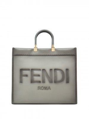 Большая сумка-тоут Sunshine Fendi. Цвет: серый