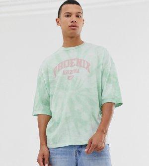 Oversize-футболка с принтом тай-дай и город Tall-Зеленый ASOS DESIGN